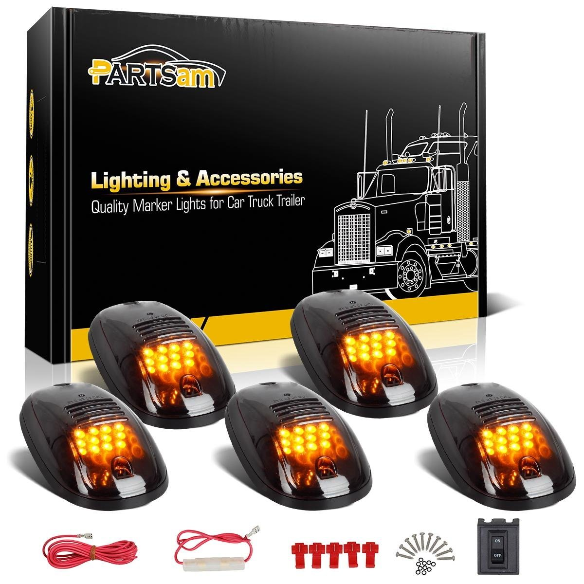 hight resolution of partsam 5x amber 12 led smoke cab roof running top clearance marker lights 264146bk assembly