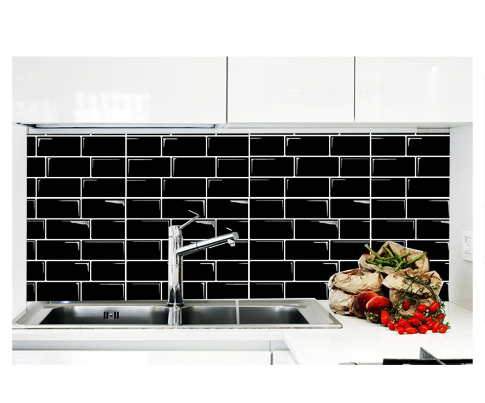 Best Quality Wootile Black Wall Tile Stickers Adhesive Tile Over