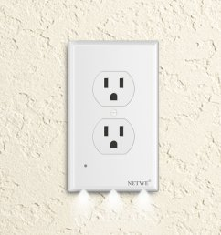 duplex outlet cover guidelight cover plate outlet wall plate cover with led night lights automatic brightness sensors no batteries or wires installs  [ 1500 x 1500 Pixel ]