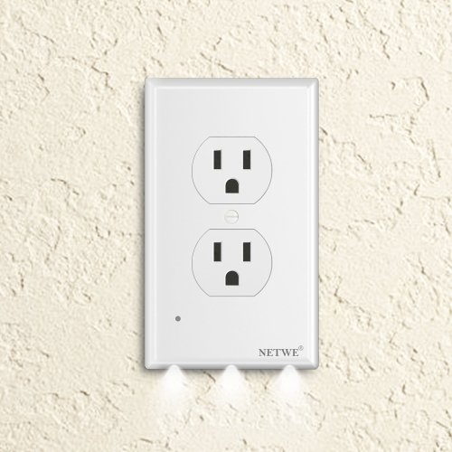 small resolution of duplex outlet cover guidelight cover plate outlet wall plate cover with led night lights automatic brightness sensors no batteries or wires installs
