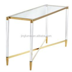Living Room Waterfall Furniture Leather Couch Decor Acrylic Console Table With Metal Brass Corner Wholesale Fancy