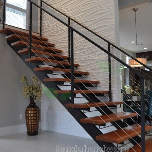 L Shape Double Stringer Wood Treads Straight Stairs With C Beam   Steel And Timber Stairs   90 Degree External   Architectural   Modern   Contemporary   House