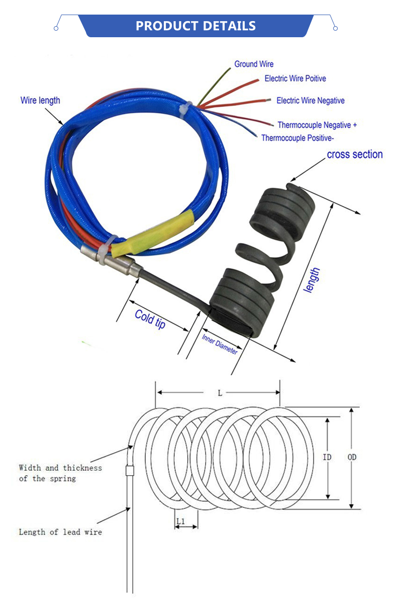 hight resolution of hot runner nozzle heater small induction heating coil