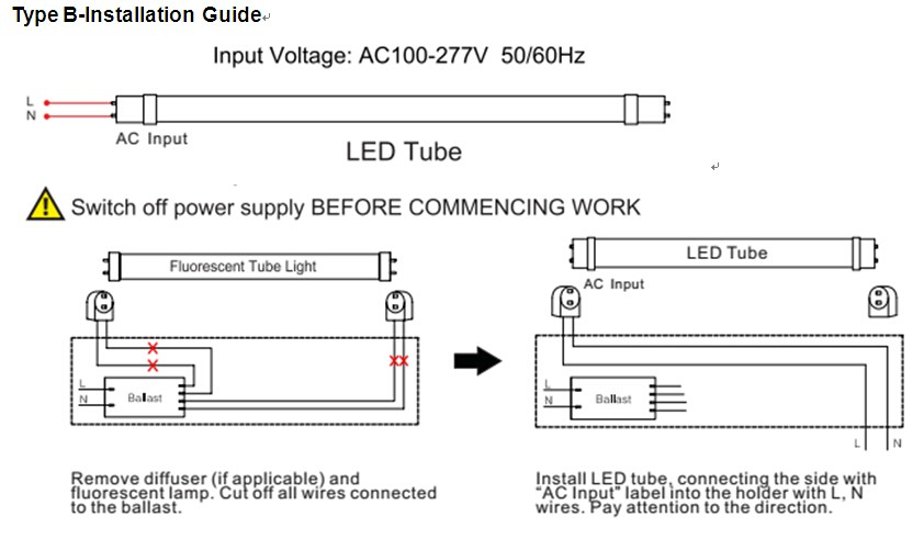2 Ballast With 4 Lamps Wiring Diagram 5 Years Warranty 140lm W 18w 4ft T8 Led Tube Type A Type