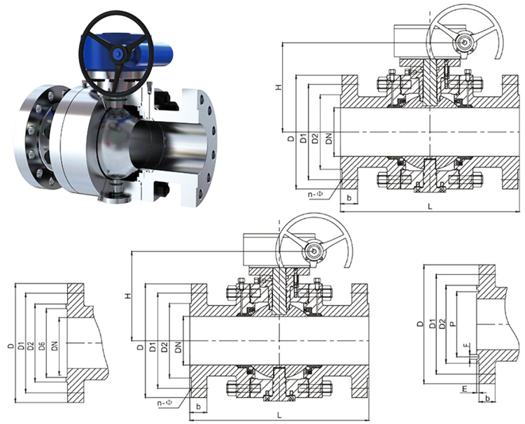 A105 Manual Flange High Pressure Forged Steel Ball Valve