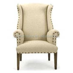 High Back Chairs With Arms Garden Chair Covers From Argos French Country Wooden Wing Linen Nails Head Arm