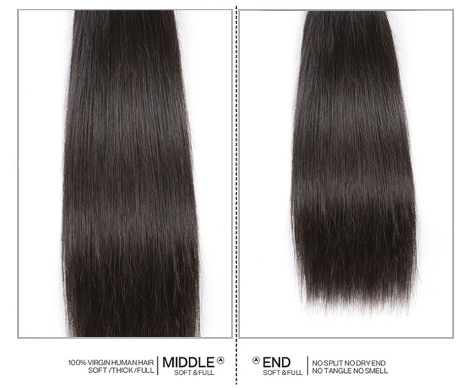 Sweetie 13X4 Ear To Ear Lace Frontal Closure With Bundles Peruvian Straight Human Hair Bundles With Frontal Non-Remy Hair