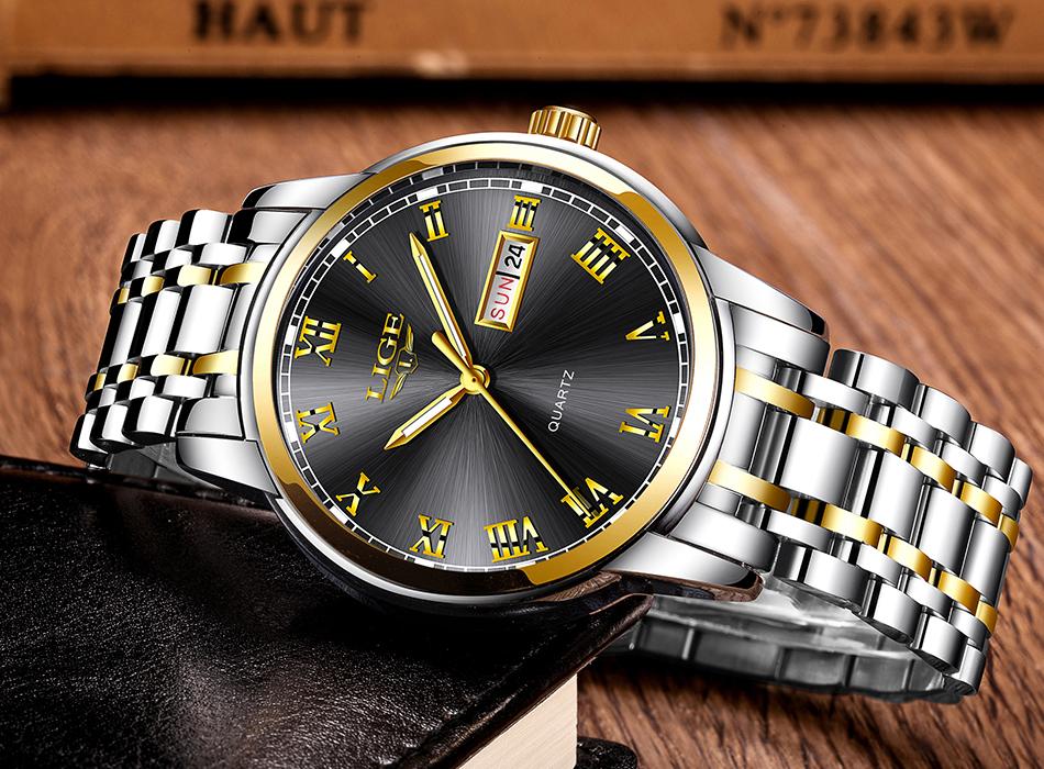 HTB1udYpf6nD8KJjSspbq6zbEXXat LIGE Watch Men Fashion Sports Quartz Full Steel Gold Business Mens Watches Top Brand Luxury Waterproof Watch Relogio Masculino