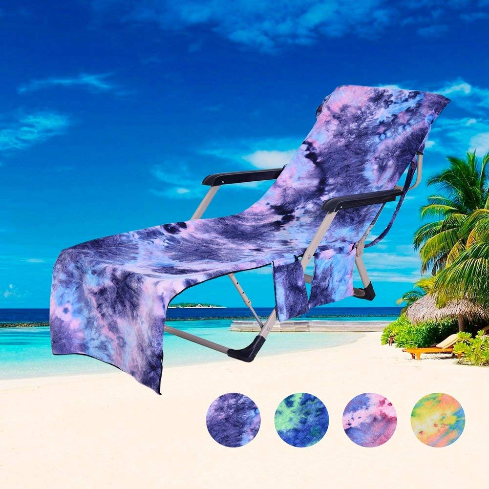 beach towels with pocket for lounge chair wrought iron feet cheap cover towel find get quotations enipate storage pockets sunbathing chairs tie dye microfiber