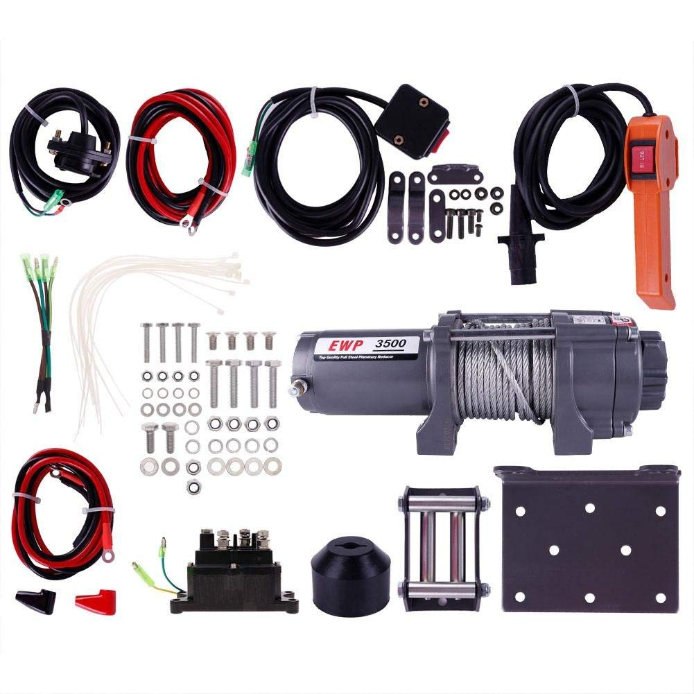 hight resolution of get quotations 3500lb atv winch utv 12v electric 3500 lb brand off road waterproof recovery winch kit