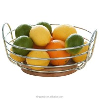 2015 Best Selling Round Chrome Wire Fruit Bowl With Rubber ...