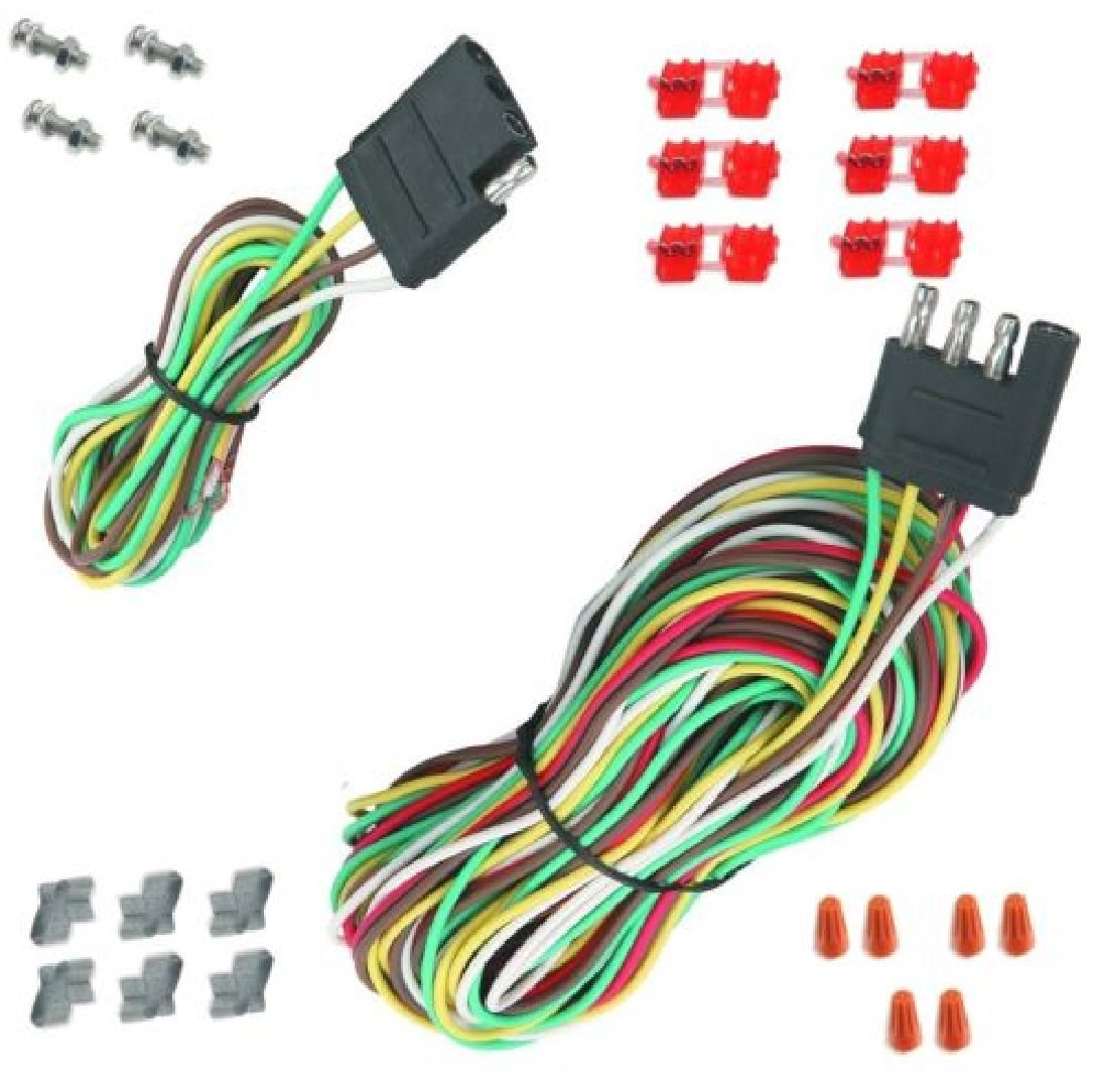 hight resolution of 25 4 way trailer wiring connection kit flat wire extension harness boat car rv