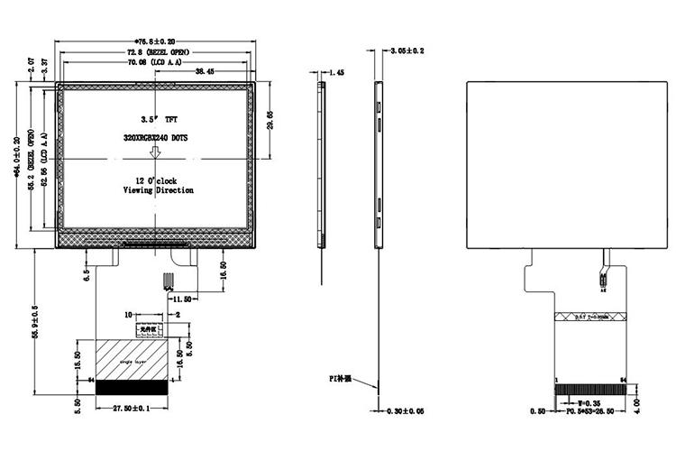 Qvga 320x 240 3.5inch Trasflective Sunlight Readable Tft Lcd Screen - Buy Qvga 3.5 Tft Lcd Module.Trasflective Lcd Display Module.Sunlight ...