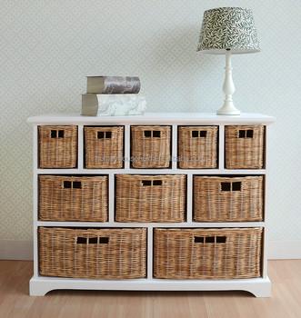 10 Wicker Baskets Storage Shelf Bedroom Furniture Set
