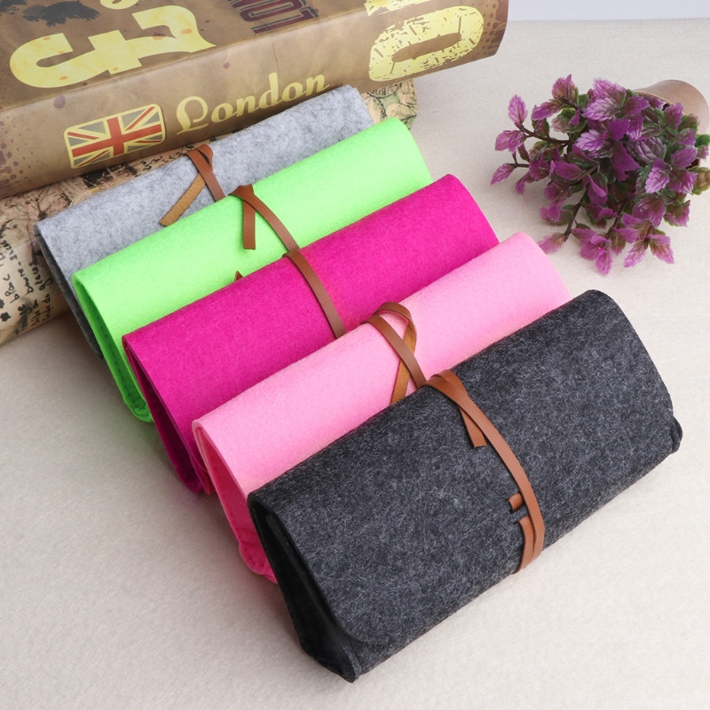 Felt Sunglasses Bags Cases Portable Soft Glasses Package Accessories Belt Closure