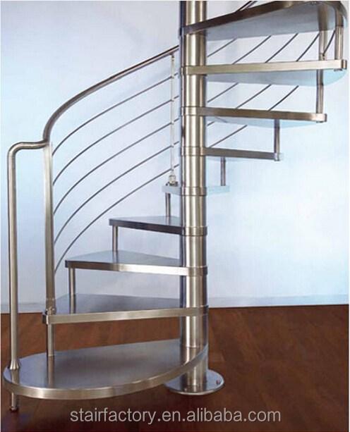 Prefabricated Spiral Staircase 304 Stainless Steel Spiral   Stainless Steel Spiral Staircase   Custom Iron   Wooden   Indoor   Bronze   Top