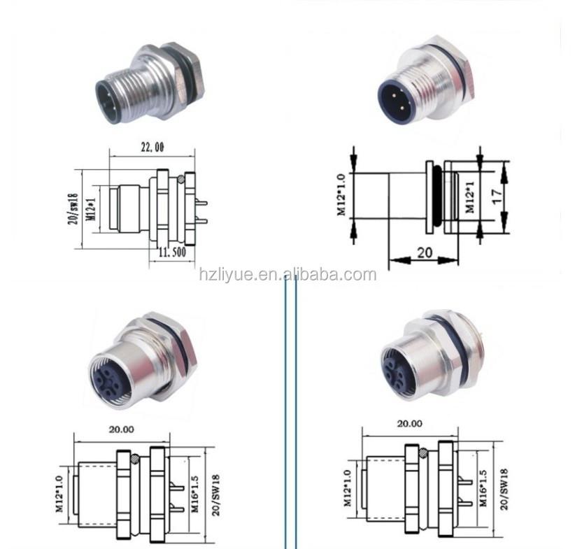 M12 Flange Socket Connector 3pin 4pin 5pin 8pin Waterproof