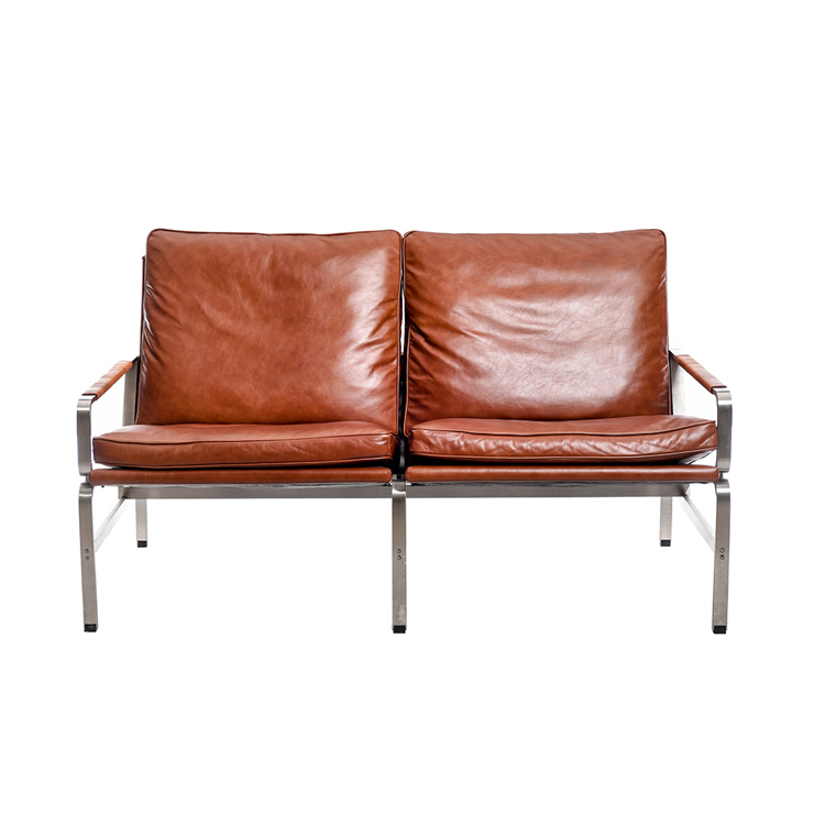 barcelona chair leather porch swing australia style stainless steel living room furniture 2 seat armchair