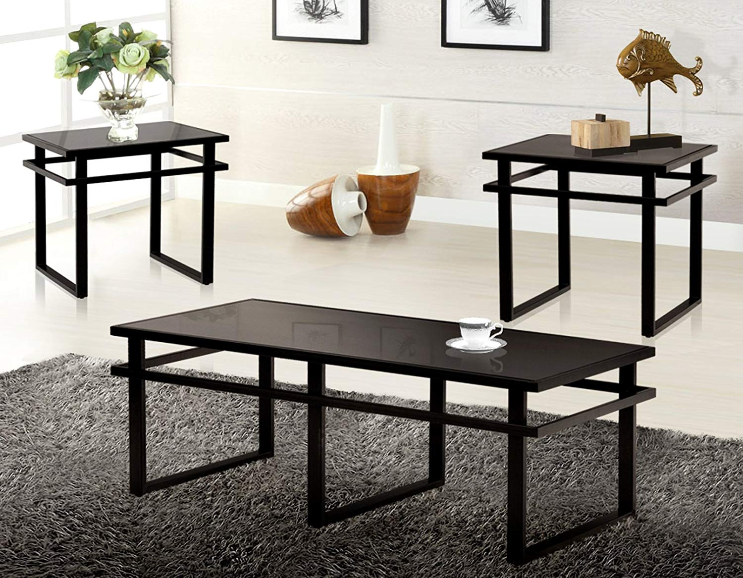 cheap black glass coffee table set