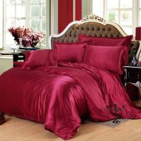 Burgundy Silk Bedding Set Twin Full Queen King Size ...