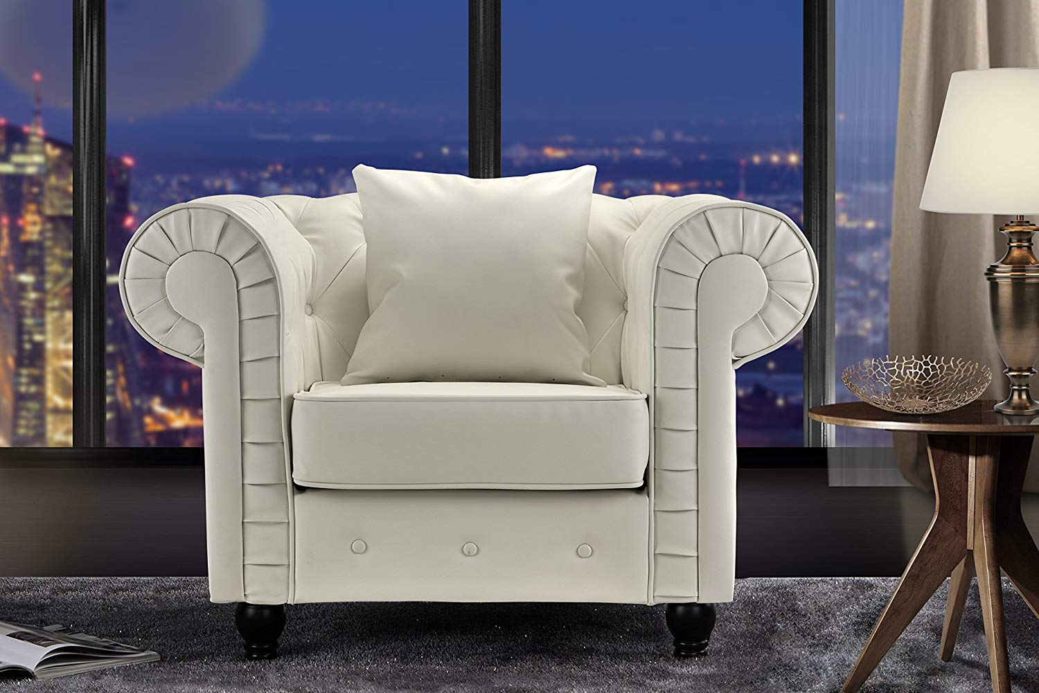 roundhill furniture wonda bonded leather accent chair with wood arms white wedding covers hire liverpool cheap find get quotations sofamania classic chesterfield scroll arm tufted