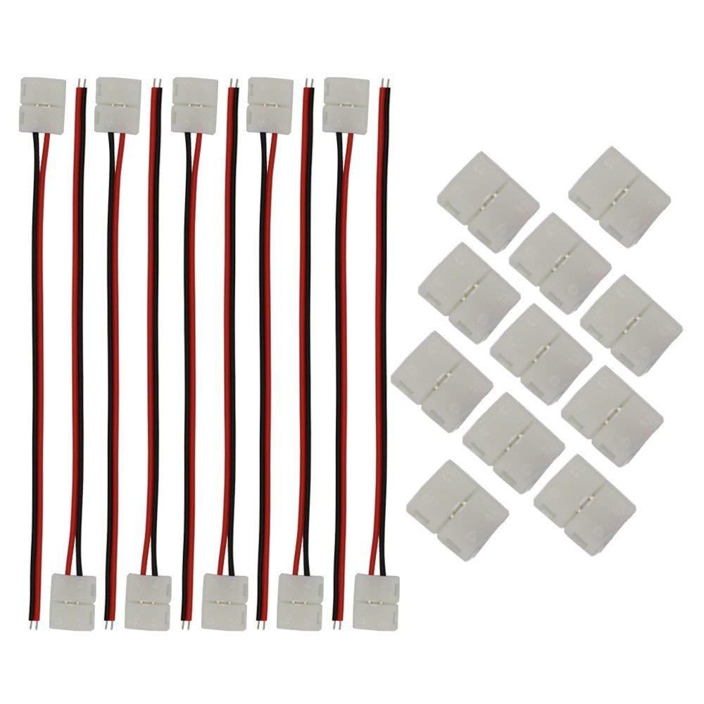 hight resolution of get quotations kinyooo 8mm 3528 2835 led strip light connectors kits 10 pcs 2 pin 8mm