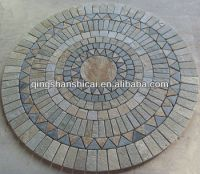 Round Multicolor Flooring Mosaic Tile Flower Patterns With