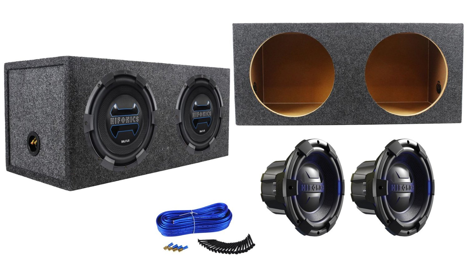 hight resolution of package 2 hifonics brx12d4 brutus 12 dual 4 ohm 900 watts peak 450 watts rms car subwoofer rockville rd12 dual 12 1 25 cu ft sealed subwoofer