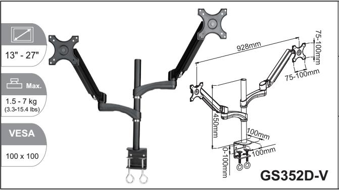 Gs352d-v Gas Spring Flexible Swivel Clamp Laptop Monitor