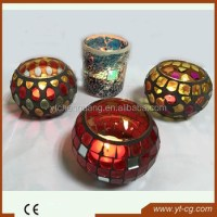 Wholesale Mosaic Glass Hurricane Lamp Frosted Candle