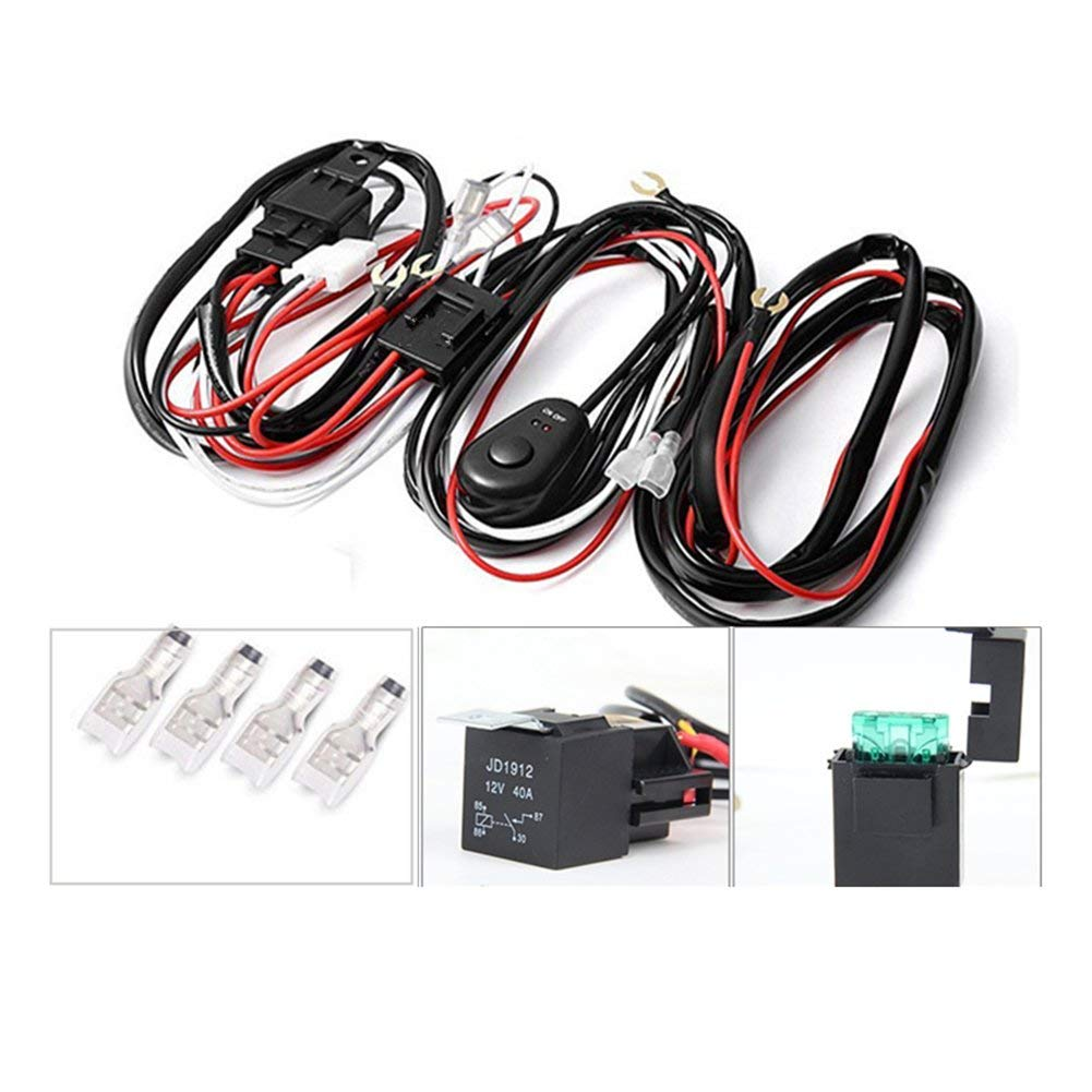 hight resolution of get quotations alician led light bar wiring harness kit 12v 40a 2 lights 1 control switch relay cable