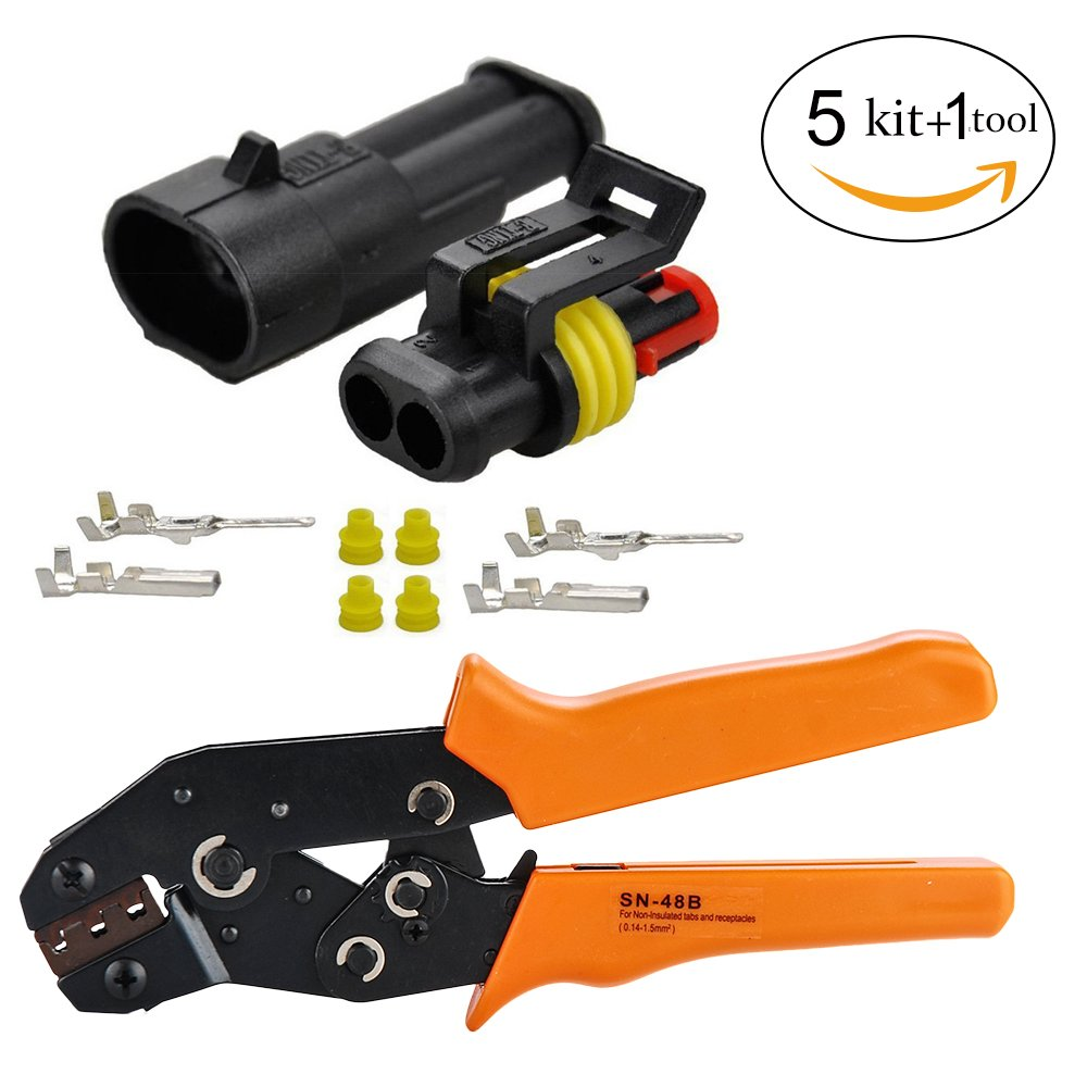 hight resolution of get quotations hifrom 5 kit 2 pin way waterproof electrical connector with crimping tool 1 5mm series