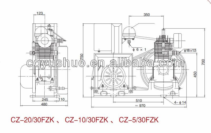 Marine Medium Pressure Air Cooled Piston Air Compressor