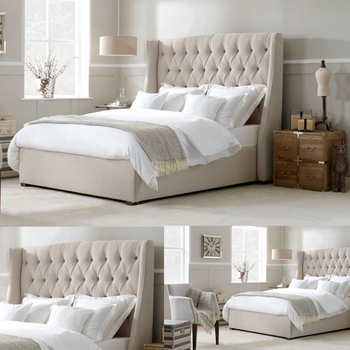 Grey White Headboard King Size Wholesale Bed Frames