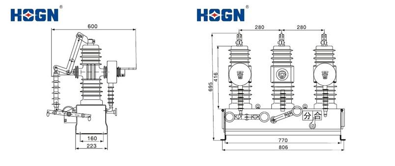 Hogn Zw32-12 Type Outdoor High-voltage Vacuum Circuit