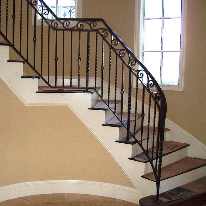 Curved Wrought Iron Stair Railings Outdoor Wrought Iron Railings | Wrought Iron Rails For Outdoor Steps | Balcony Balustrade | Staircase Railings | Front Porch Railings | Railing Kits | Rod Iron