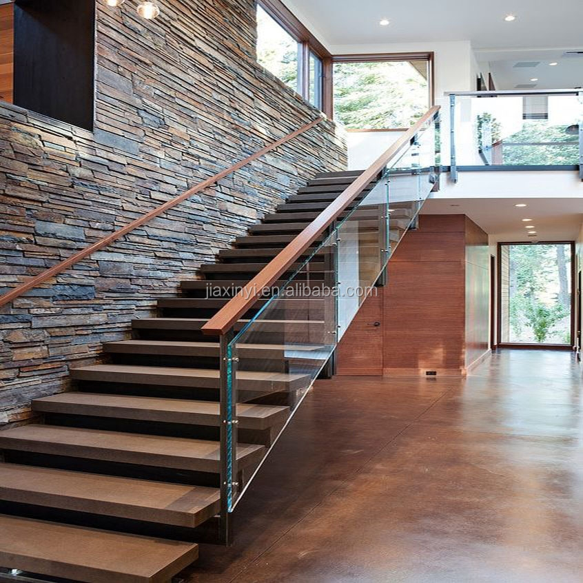 Modern Wood Solid Tread Invisible Steel Stringer With Landing   Staircase Wood And Glass   Commercial Wood   New   Ash Wood   Simple Glass   Glass Bal