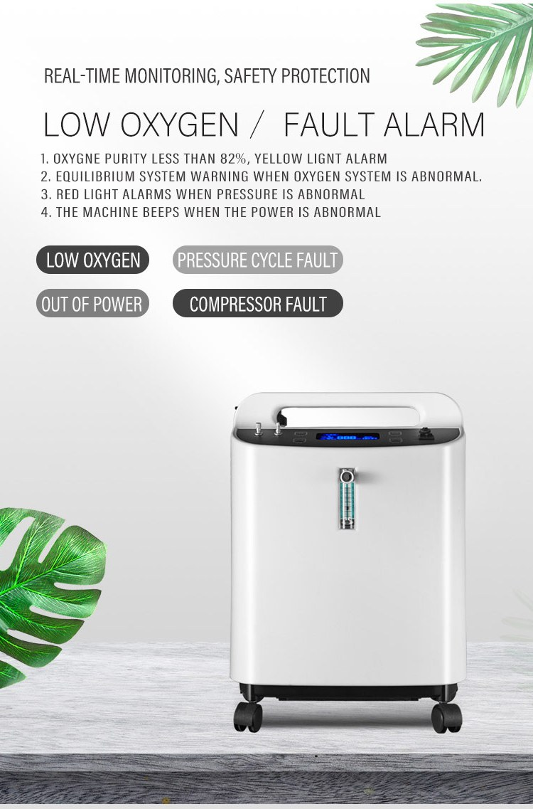 Best Sell 5L large flow 93% concentration medical portable home oxygen concentrator