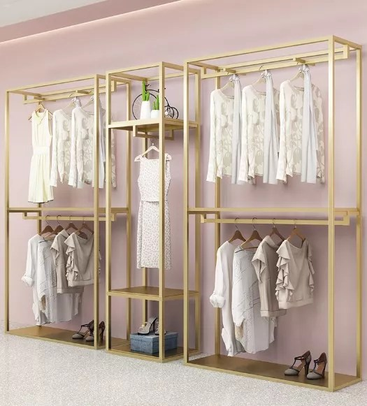 modern gondola z rolling luxury clothing wall shop display racks gold retail stands for boutique buy clothing display racks stands clothing wall