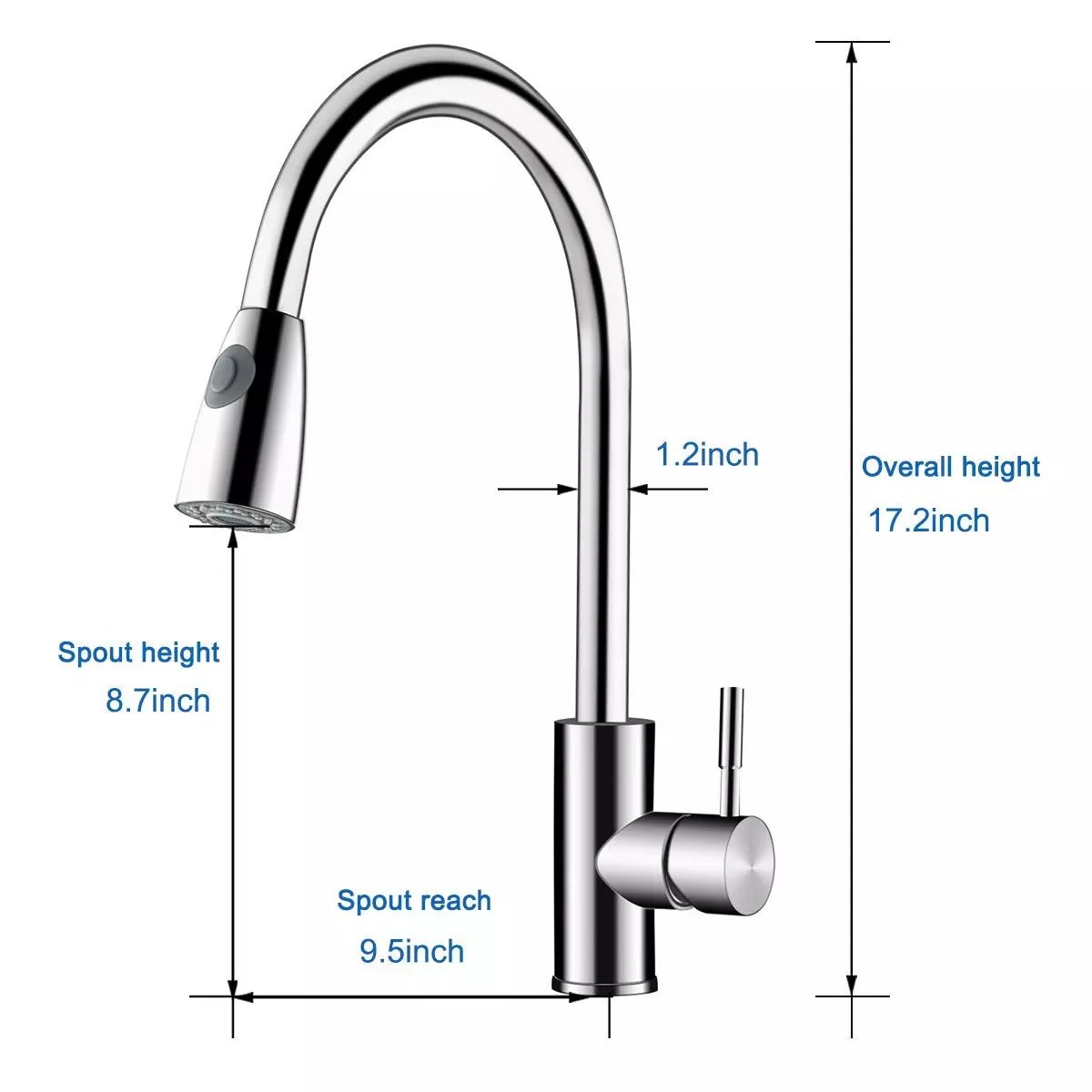 sanfino single handle kitchen faucet stainless steel kitchen sink faucets with pull down sprayer brushed nickel buy stainless steel faucet single