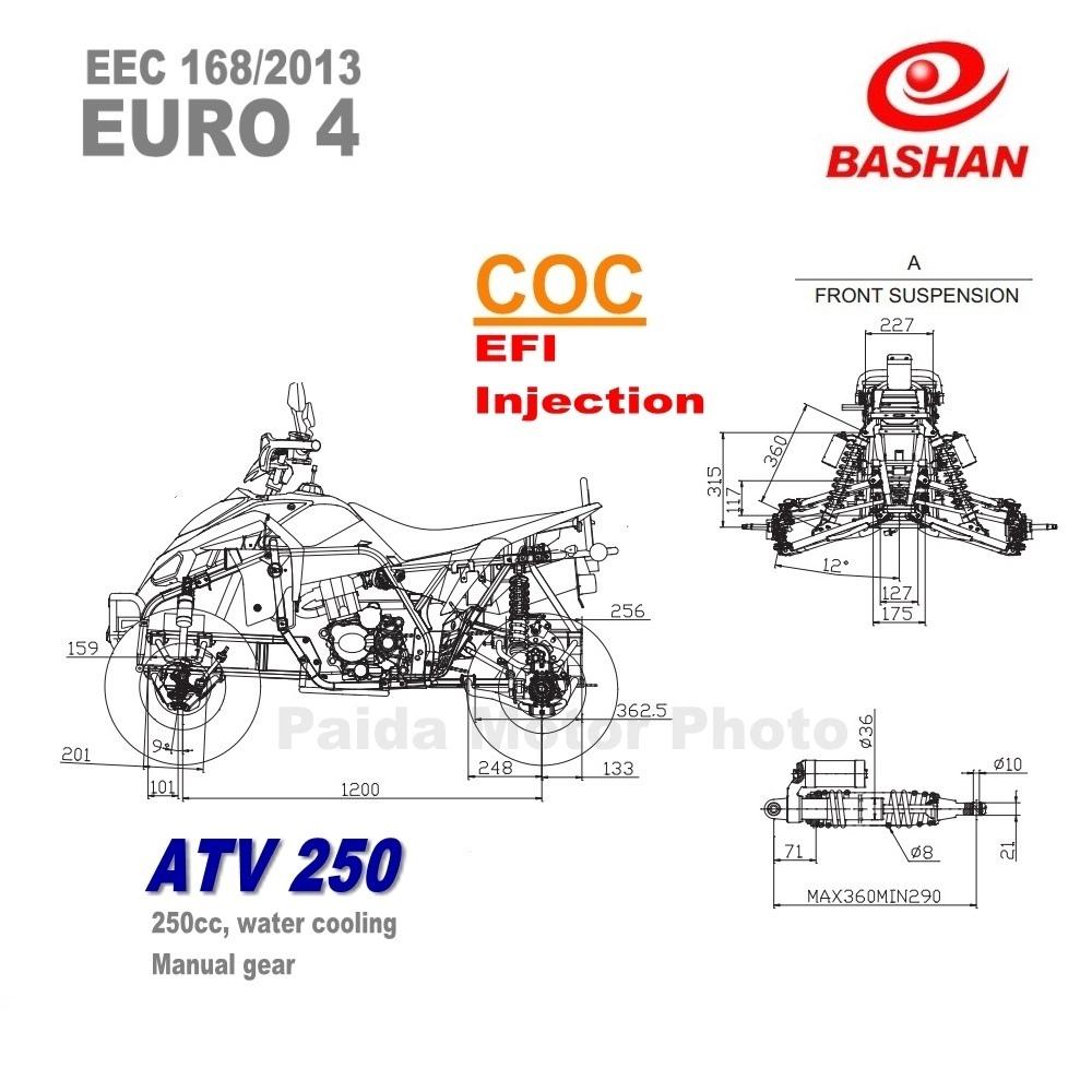 Bashan Motor Eec Atv 250 Cc Euro4 Coc Sport Quad Chinese
