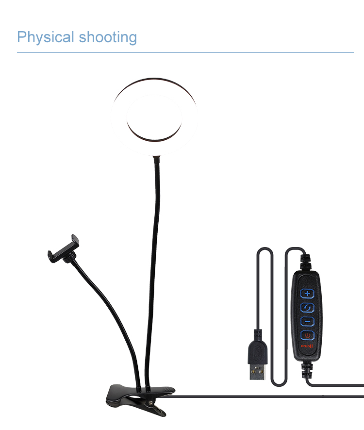 LED Selfie Ring Light 2 in 1 type 6  inch with Tripod Stand & Phone Holder for YouTube Video TIK Tok desktop clip light