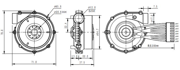 Small Size 60mm Diameter 300lpm Airflow 24v Dc Mini Fan