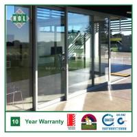 Shopfront door, sliding aluminum frame, Temper clear glass ...