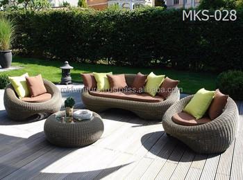 Wicker Round Rattan Garden Sofa Set Furniture Patio