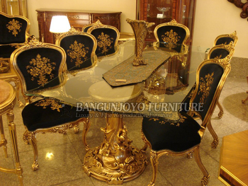French Royal Style Solid Wood Long Dining Table Set With