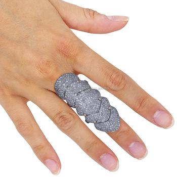 14k Gold Full Finger Ring Genuine Diamond Fashion 925