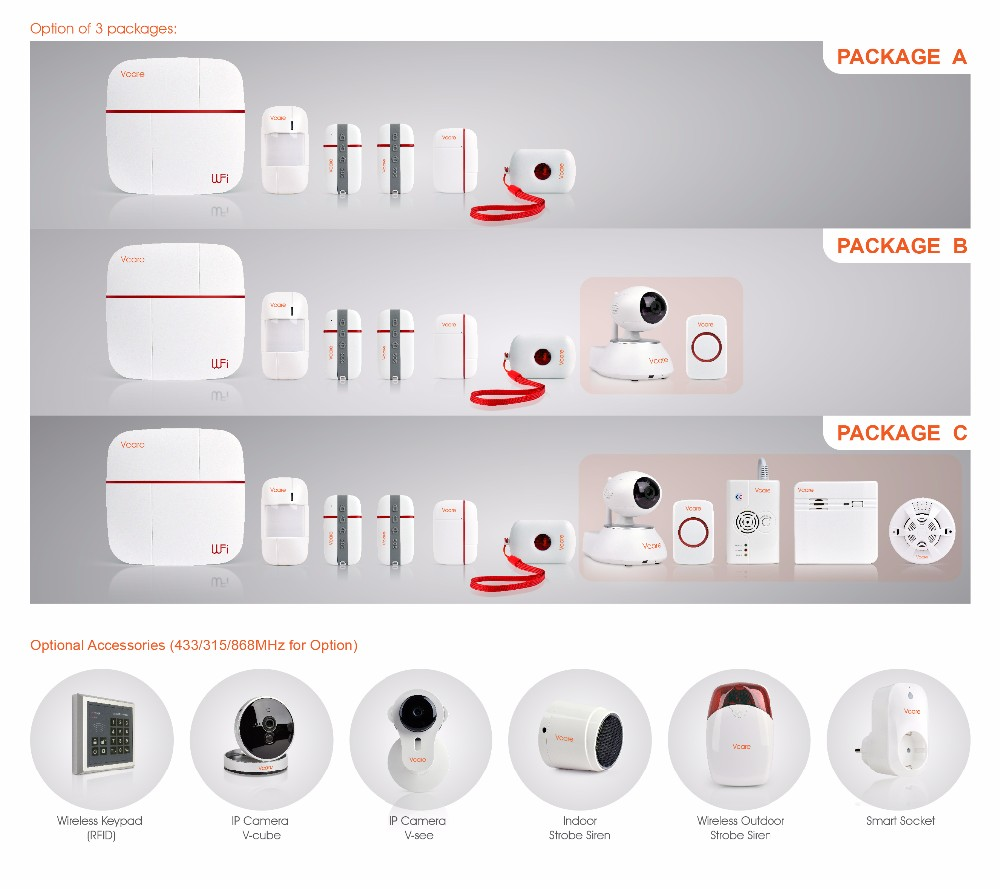 medium resolution of 868mhz vcare smart wifi gsm alarm system wireless home security camera system elderly care