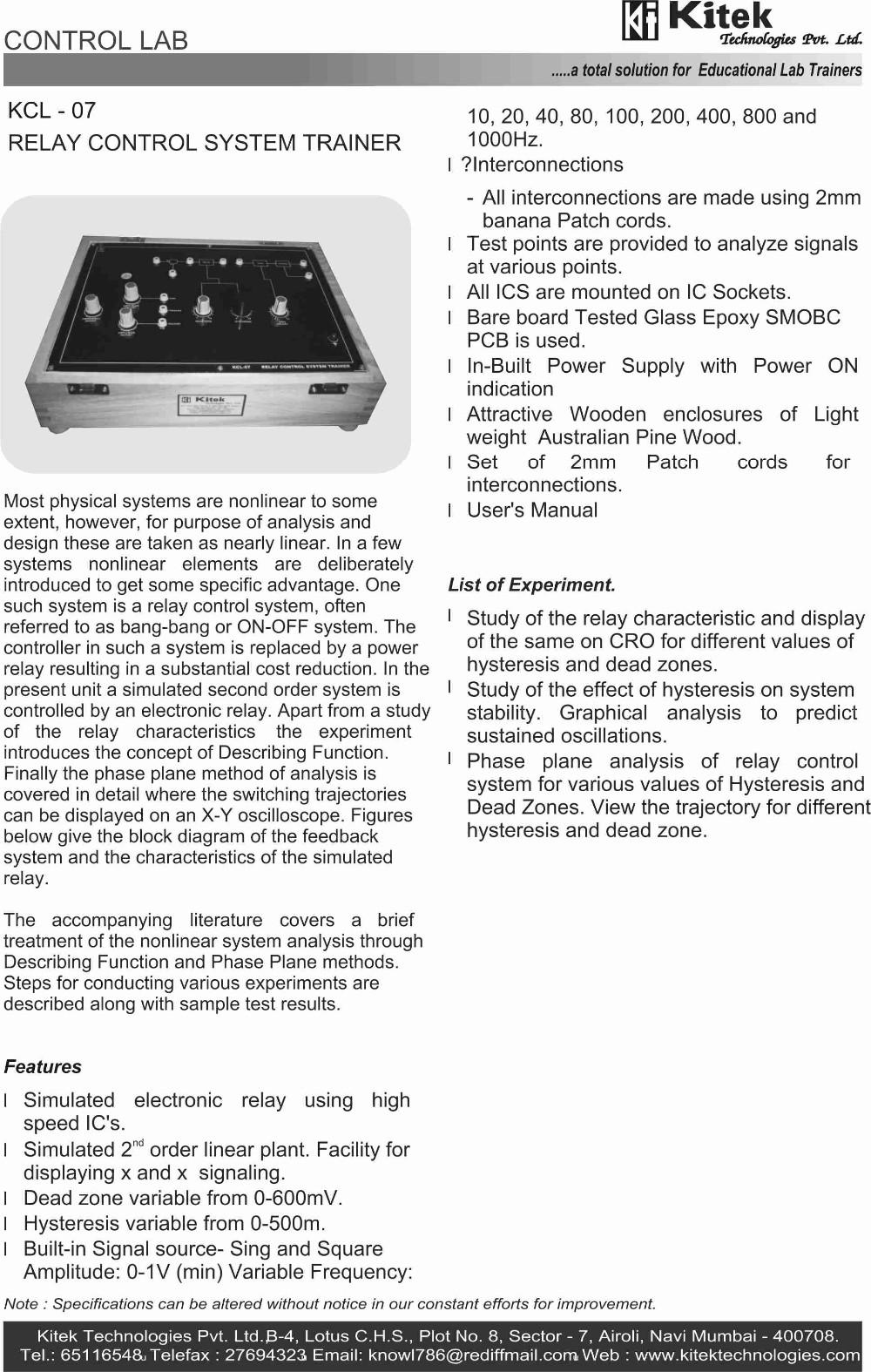 DC MOTOR SPEED CONTROL TRAINER KIT / CONTROL LAB TRAINER