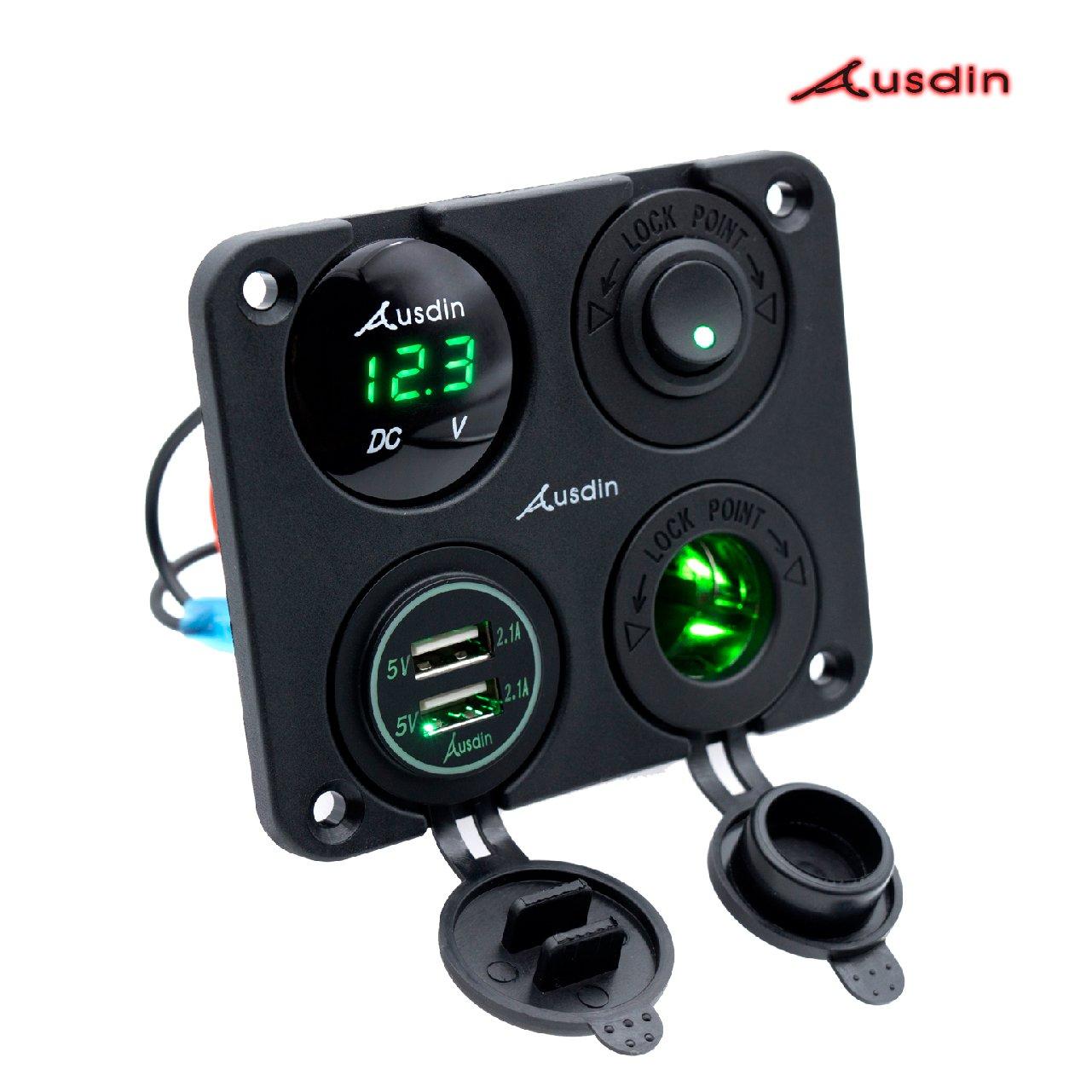 hight resolution of led rocker switch panel ausdin heavy duty aluminum rocker switch waterproof panel dual usb socket